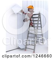 Clipart Of A 3d Red Construction Android Robot Applying Wallpaper Royalty Free Illustration by KJ Pargeter