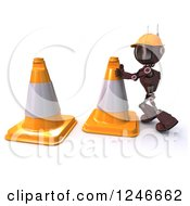 Clipart Of A 3d Red Road Construction Worker Android Robot Moving Cones Royalty Free Illustration