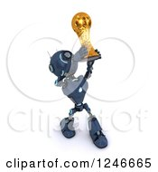 Clipart Of A 3d Blue Android Robot Holding Up A Soccer Championship Trophy Royalty Free Illustration by KJ Pargeter