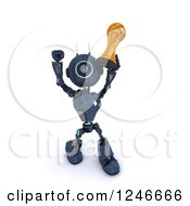 Clipart Of A 3d Blue Android Robot Holding Up A Soccer Championship Trophy 2 Royalty Free Illustration by KJ Pargeter