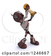 Clipart Of A 3d Red Android Robot Holding Up A Soccer Championship Trophy 3 Royalty Free Illustration by KJ Pargeter