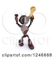 Clipart Of A 3d Red Android Robot Holding Up A Soccer Championship Trophy 2 Royalty Free Illustration by KJ Pargeter