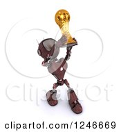 Clipart Of A 3d Red Android Robot Holding Up A Soccer Championship Trophy Royalty Free Illustration by KJ Pargeter