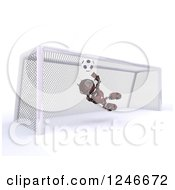 Clipart Of A 3d Red Android Robot Playing Soccer 5 Royalty Free Illustration