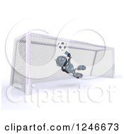 Clipart Of A 3d Blue Android Robot Playing Soccer 5 Royalty Free Illustration