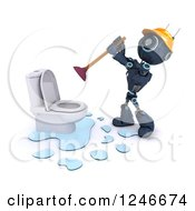 Clipart Of A 3d Blue Android Robot Plumber Plunging A Toilet Royalty Free Illustration by KJ Pargeter