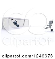 Clipart Of 3d Blue Android Robots Playing Soccer Royalty Free Illustration