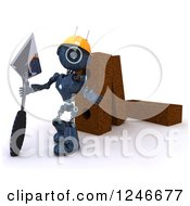 Clipart Of A 3d Blue Android Robot Mason Worker With Giant Bricks And A Trowel 2 Royalty Free Illustration by KJ Pargeter