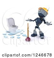 Clipart Of A 3d Blue Android Robot By A Plunger And Toilet Royalty Free Illustration by KJ Pargeter