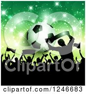 Clipart Of A Silhouetted Crowd Of Fans Over A Soccer Ball And Green Flares Royalty Free Vector Illustration by KJ Pargeter