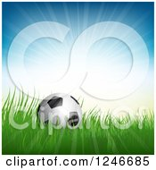 Clipart Of A 3d Soccer Ball In Grass Under Sunshine Royalty Free Vector Illustration by KJ Pargeter
