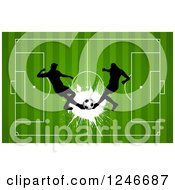 Clipart Of Silhouetted Soccer Players Over A Field Royalty Free Vector Illustration