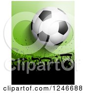 Clipart Of A Silhouetted Crowd Of Fans Under A Soccer Ball On Green Royalty Free Vector Illustration