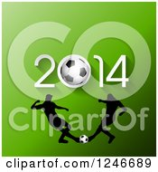 Clipart Of Silhouetted Soccer Players Under 2014 On Green Royalty Free Vector Illustration
