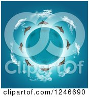 Clipart Of A 3d Water Planet Encircled With Dolphins And Clouds Royalty Free Illustration