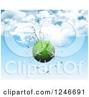 Clipart Of A 3d Green Planet With Wind Turbines Over Blue Sky With Clouds Royalty Free Illustration by KJ Pargeter