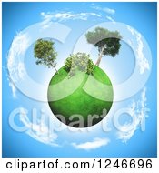 Clipart Of A 3d Grassy Planet With A Shrub And Trees Encircled By Clouds Royalty Free Illustration