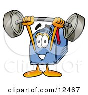 Blue Postal Mailbox Cartoon Character Holding A Heavy Barbell Above His Head