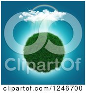 Clipart Of A 3d Grassy Planet Under A Rainbow And Showers Royalty Free Illustration