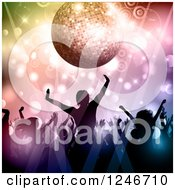 Clipart Of Silhouetted Dancers Under A Disco Ball Circles And Lights Royalty Free Vector Illustration