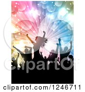 Clipart Of Silhouetted Dancers Under Lights Royalty Free Vector Illustration