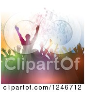 Clipart Of Silhouetted Colorful Dancers Under Music Notes And Lights Royalty Free Vector Illustration