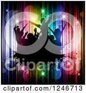Clipart Of Silhouetted Dancers On A Black Splatter Over Flares And Lights Royalty Free Vector Illustration