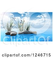 3d Aquatic Reed Plants And Stones In Blue Water