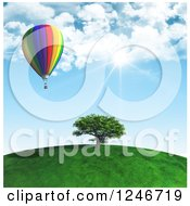 Clipart Of A 3d Hot Air Balloon Over A Tree On A Hill Top On A Sunny Day Royalty Free Illustration by KJ Pargeter