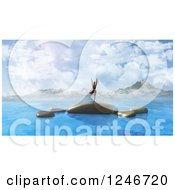 Clipart Of A 3d Woman Doing Yoga On Rocks In The Ocean With Mountains In The Distance Royalty Free Illustration