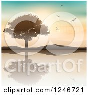 Clipart Of A Silhouetted Tree And Hills Reflecting In A Lake With Birds And Wind Turbines Royalty Free Vector Illustration