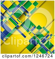 Clipart Of A Yellow Green And Blue Brazilian Flag Colored Background Royalty Free Vector Illustration