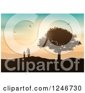 Clipart Of A Silhouetted Father And Son By A Tree Viewing A Wind Farm At Sunset Royalty Free Vector Illustration
