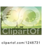 Clipart Of A Silhouetted Fit Woman Jogging With Her Dog Through A Park Royalty Free Vector Illustration by KJ Pargeter