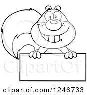 Clipart Of A Black And White Happy Squirrel Grinning Over A Blank Sign Royalty Free Vector Illustration
