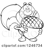 Clipart Of A Black And White Hungry Squirrel Licking His Lips And Holding A Giant Acorn Royalty Free Vector Illustration