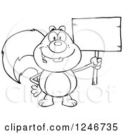 Clipart Of A Black And White Happy Squirrel Holding A Blank Wooden Sign Royalty Free Vector Illustration