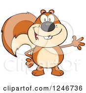 Clipart Of A Friendly Squirrel Waving Royalty Free Vector Illustration