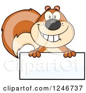 Clipart Of A Happy Squirrel Grinning Over A Blank Sign Royalty Free Vector Illustration