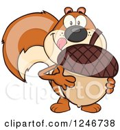 Clipart Of A Hungry Squirrel Licking His Lips And Holding A Giant Acorn Royalty Free Vector Illustration by Hit Toon