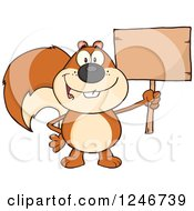 Clipart Of A Happy Squirrel Holding A Blank Wooden Sign Royalty Free Vector Illustration