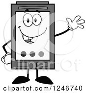Clipart Of A Friendly Waving Grayscale Ink Cartridge Character Mascot Royalty Free Vector Illustration