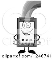 Clipart Of A Grayscale Rainbow Refilling An Ink Cartridge Character Mascot Royalty Free Vector Illustration