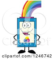 Clipart Of A Rainbow Refilling A Color Ink Cartridge Character Mascot Royalty Free Vector Illustration