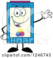 Clipart Of A Friendly Waving Color Ink Cartridge Character Mascot Royalty Free Vector Illustration