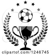 Clipart Of A Black And White Soccer Ball Over A Trophy Cup With Stars And A Laurel Royalty Free Vector Illustration