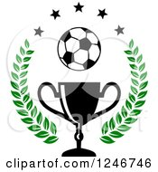 Clipart Of A Soccer Ball Over A Trophy Cup With Stars And A Laurel Royalty Free Vector Illustration