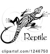 Black And White Tribal Lizard With Reptile Text