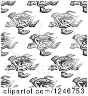Clipart Of A Seamless Black And White Background Pattern Of Tribal Sea Turtles Royalty Free Vector Illustration by Vector Tradition SM