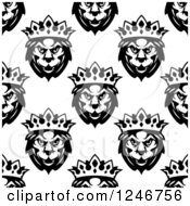 Clipart Of A Seamless Pattern Background Of Black And White King Lions 2 Royalty Free Vector Illustration